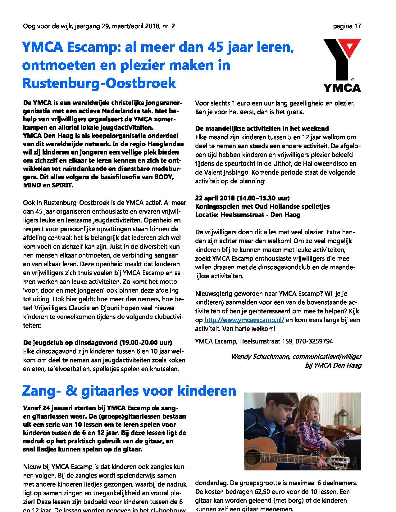 New YMCA Escamp in Oog in de Wijk | YMCA Den Haag &US41